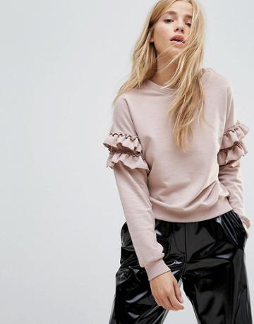 New Look Frill Sleeve Sweat - Gray