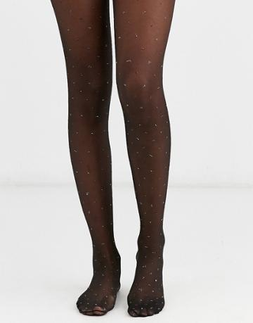 Asos Design Dotty Metallic Tights - Black