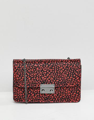 Bershka Animal Printed Bag With Chain Handle In Red - Red