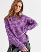 Bershka Spacedye Knitted Sweater In Purple