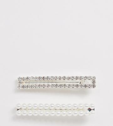 True Decadence Pearl And Rhinestone Rectangle Hair Clips - Silver