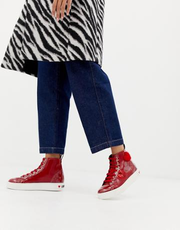 Love Moschino Sequin And Suede Panel Hi-tops - Red