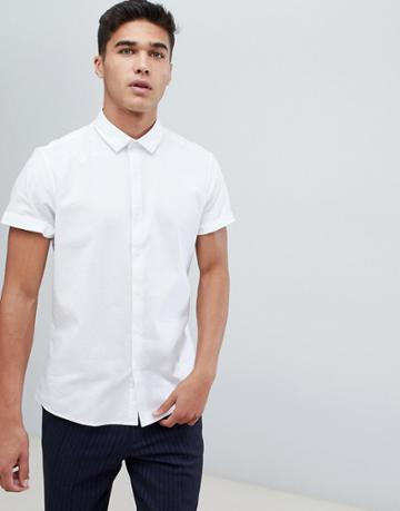 Asos Design Formal Slim Oxford In White With Short Sleeves - White