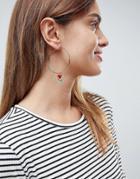 Asos Enamel Rose Heart Hoop Earrings - Gold