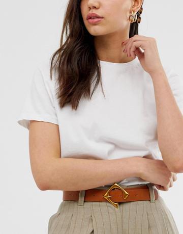 Asos Design Geo Buckle Waist And Hip Belt - Brown