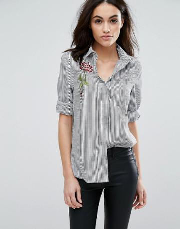 New Look Stripe Poplin Embroidered Shirt - Gray