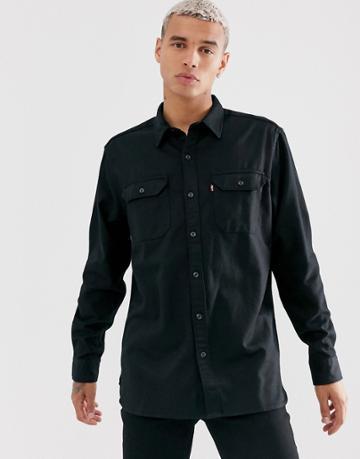 Levi's Youth Jackson Tab Logo Worker Shirt In Caviar Black