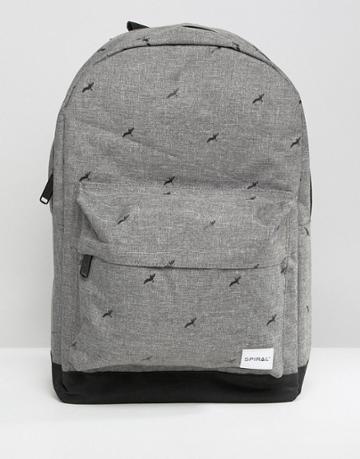 Spiral Birds Backpack In Gray Crosshatch - Gray