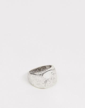 Icon Brand Burnished Silver Square Signet Ring In Silver - Silver