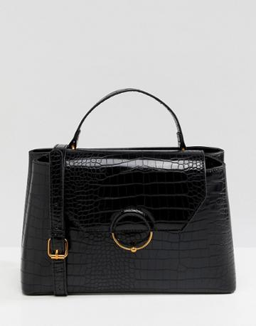 Asos Design Croc City Bag With Ring Ball Detail - Black