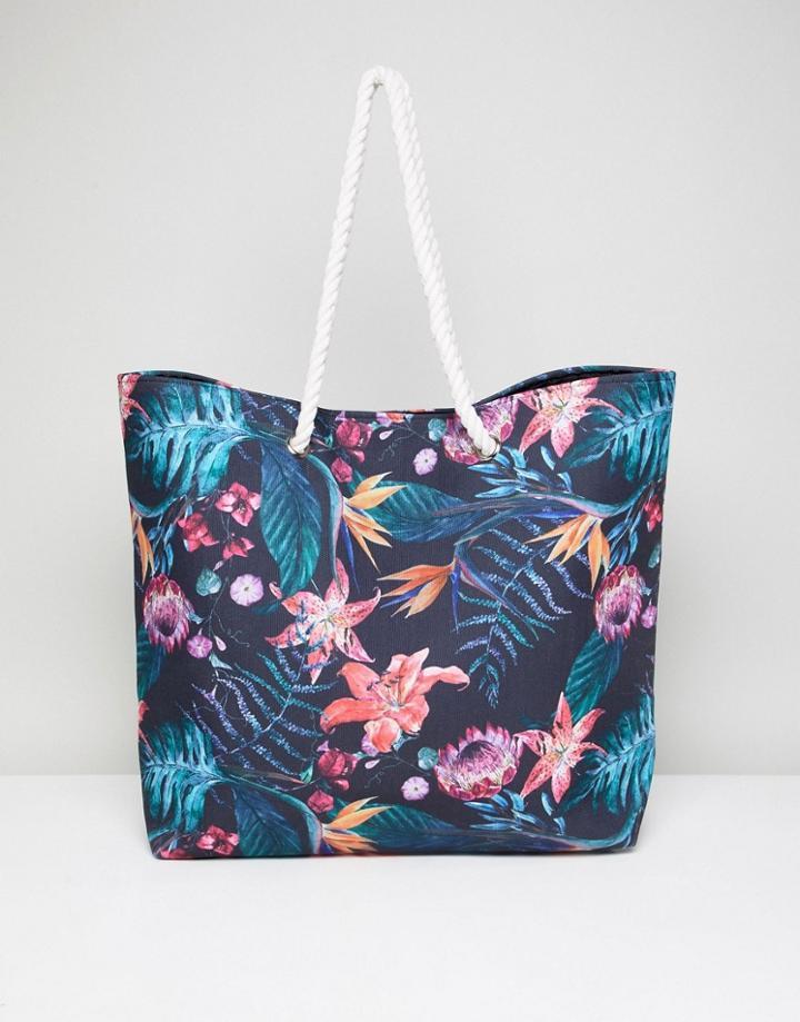 South Beach Tropical Floral Beach Bag - Multi
