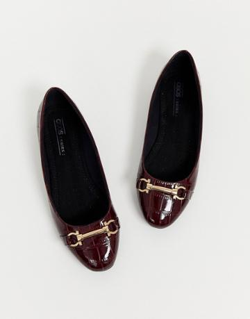 Asos Design Layla Snaffle Ballet Flats In Oxblood Croc