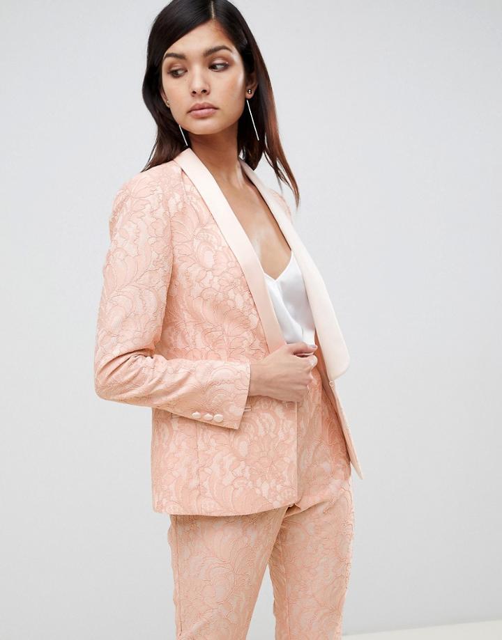 Asos Design Tailored Lace Blazer-pink