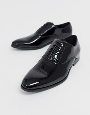 River Island Patent Oxford Shoe In Black - Black