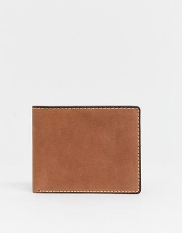 Asos Design Leather Wallet With Contrast Stitch In Tan