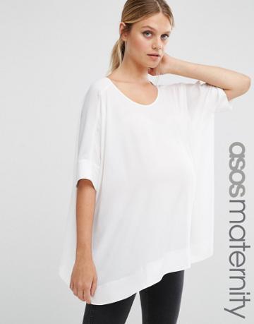 Asos Maternity Oversized Kimono T-shirt With V Back - White