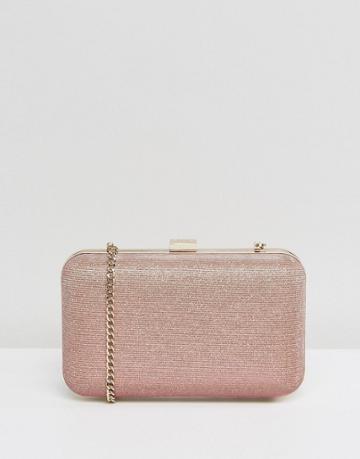 Dune Sarah Pink Metallic Box Clutch Bag - Pink