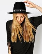 Asos Felt Fedora Hat With Symbol Print Band - Black