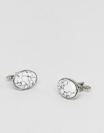 Asos Cufflinks In Silver With Marble Design - Silver