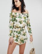 Honey Punch Long Sleeve Crop Top With Off Shoulder Ruffle Two-piece-multi