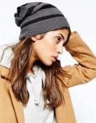 Hat Attack Stripe Beanie Hat - Gray