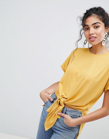 New Look Rib Tie Front Tee - Yellow