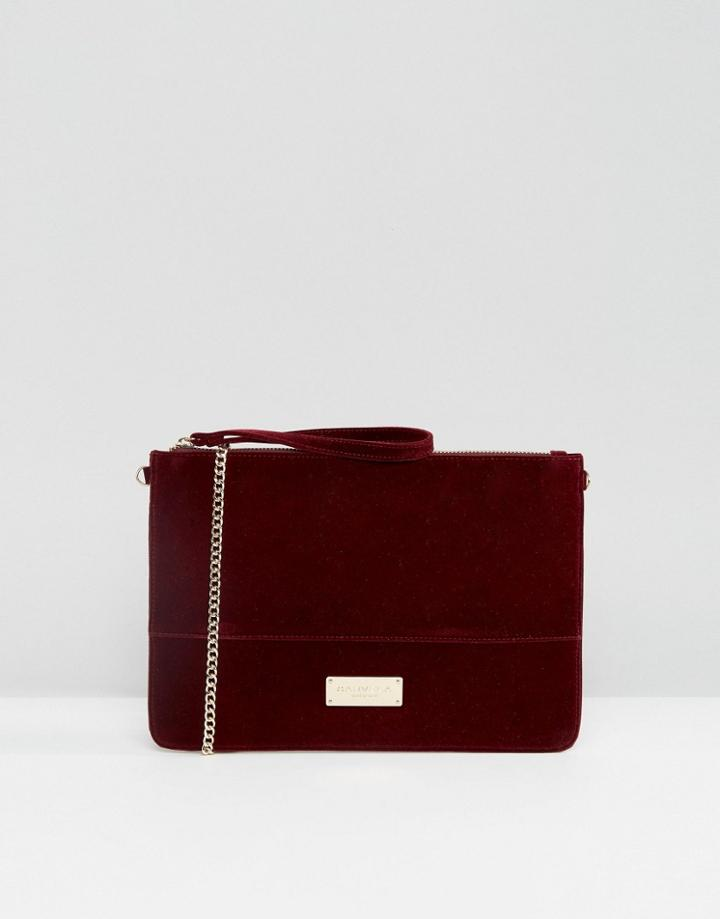 Carvela Velvet Pouch Clutch Bag With Optional Chain Strap - Red
