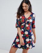 New Look Floral Frill Tea Dress - Blue