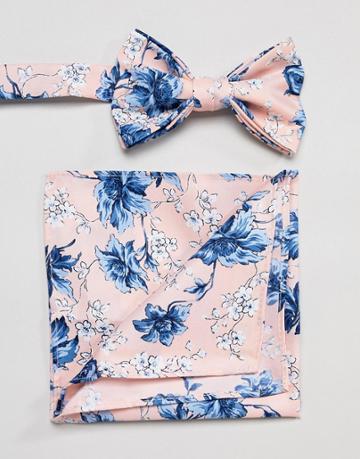 Asos Design Wedding Bow Tie & Pocket Square In Pink Floral Print - Pink