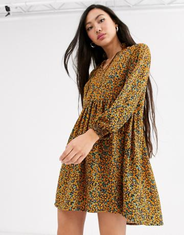 Monki Ditsy Floral Print Mini Smock Dress In Mustard