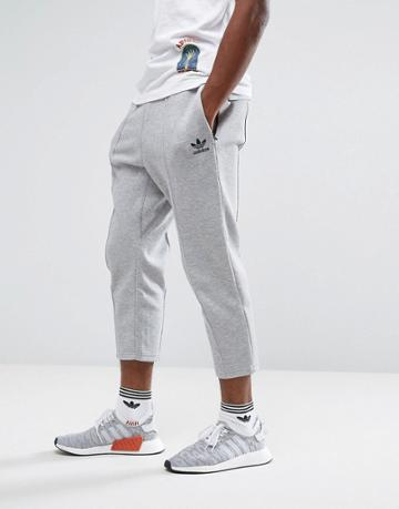 Adidas Originals Chicago Pack Cropped Pintuck Jogger In Gray Bk0555 - Gray