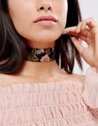 Asos Satin Floral Print Choker Necklace - Multi