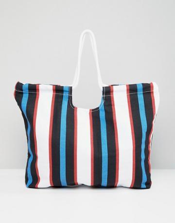 Monki Stripe Beach Bag - Multi