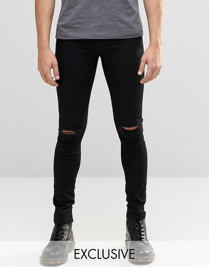 Brooklyn Supply Co Black Hunter Spray On Denim Jeans With Knee Slit - Black