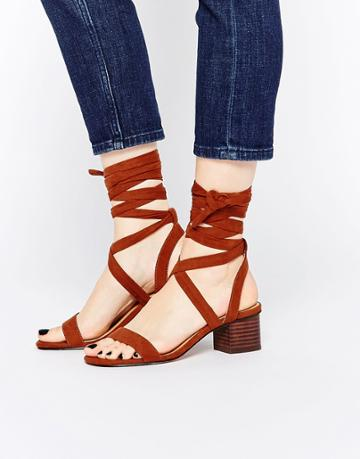 Asos Tessa Lace Up Heeled Sandals - Tan