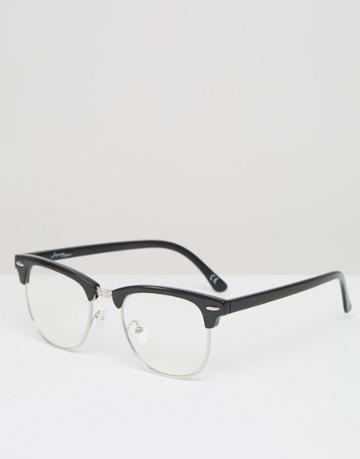 Jeepers Peepers Half Frame Clear Lens Glasses - Black
