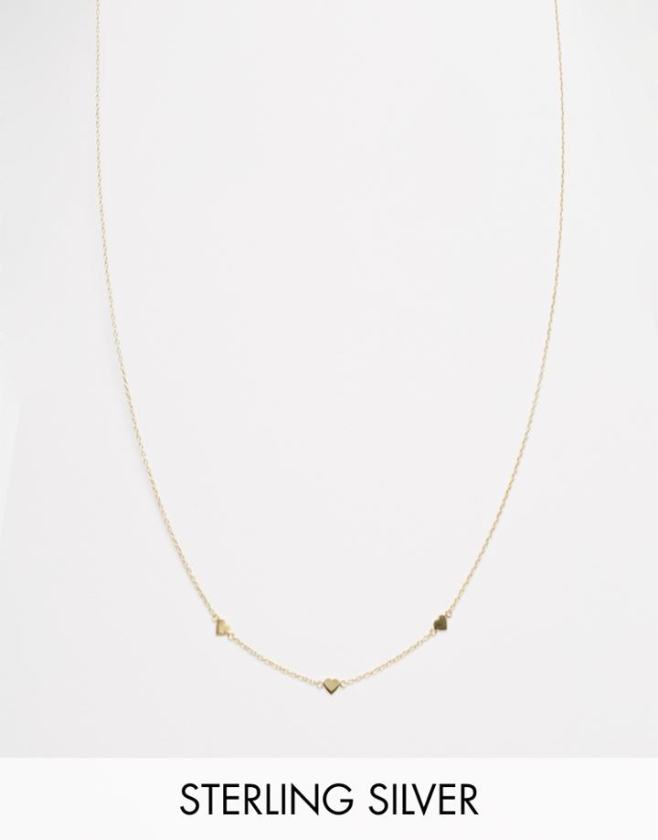 Asos Gold Plated Sterling Silver Station Heart Necklace - Gold Plated