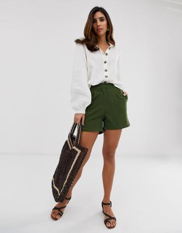 Y.a.s Tailored Shorts In Green - Navy