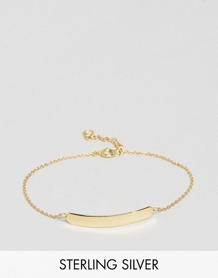 Asos Gold Plated Sterling Silver Id Bracelet - Gold