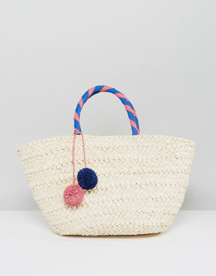 South Beach Wrapped Handle Straw Beach Bag With Pom - Beige