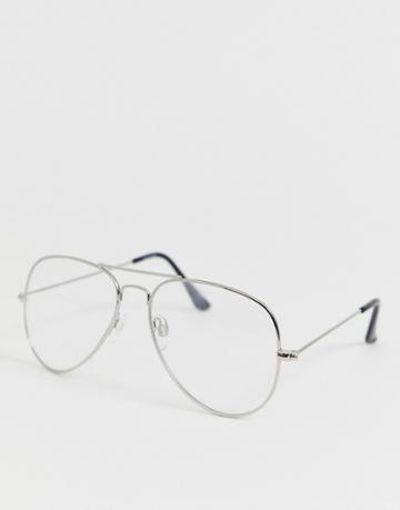 Asos Design Aviator Glasses With Clear Lens In Silver - Silver
