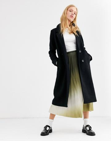 Monki Tailored Midi Coat In Black