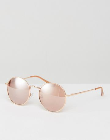 Asos 90s Metal Round Sunglasses In Rose Gold - Gold