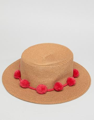 Pieces Straw Hat With Pompoms - Red