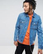 Zeffer Western Style Denim Jacket In Mid Wash - Blue