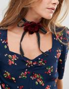 Asos Ribbon Rose Choker Necklace - Pink