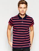 Esprit Stripe Pique Polo Shirt - Red