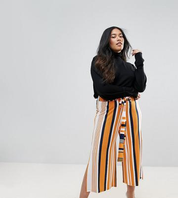 Asos Curve Wide Leg Culotte Pants With Side Splits And Tie Waist In Stripe - Multi
