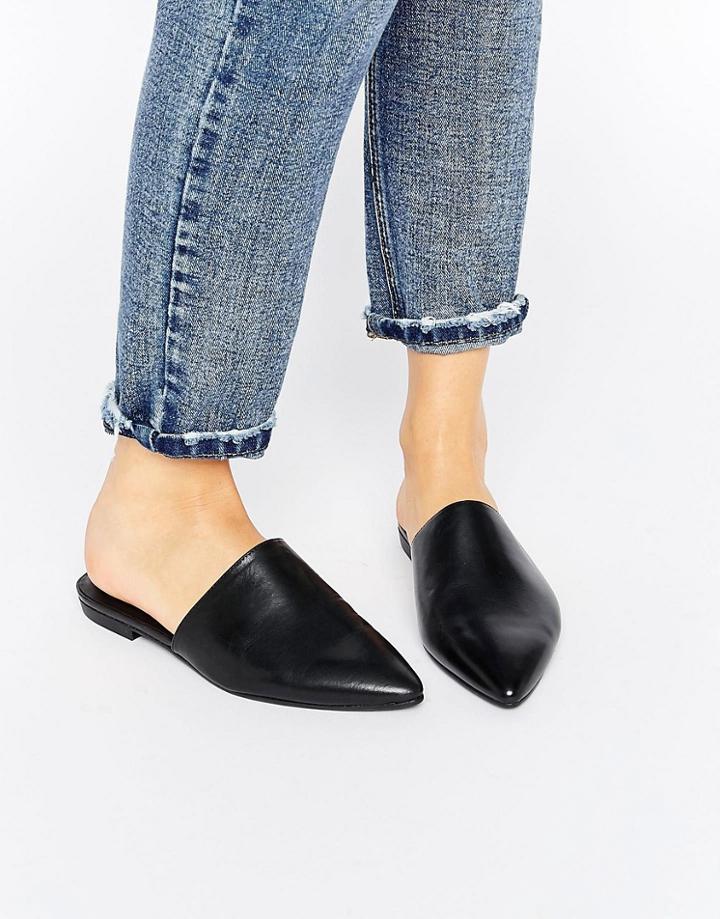 Vagabond Katlin Black Leather Flat Mules - Black