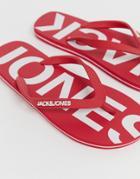 Jack & Jones Flip Flops With Branded Footbed In Red